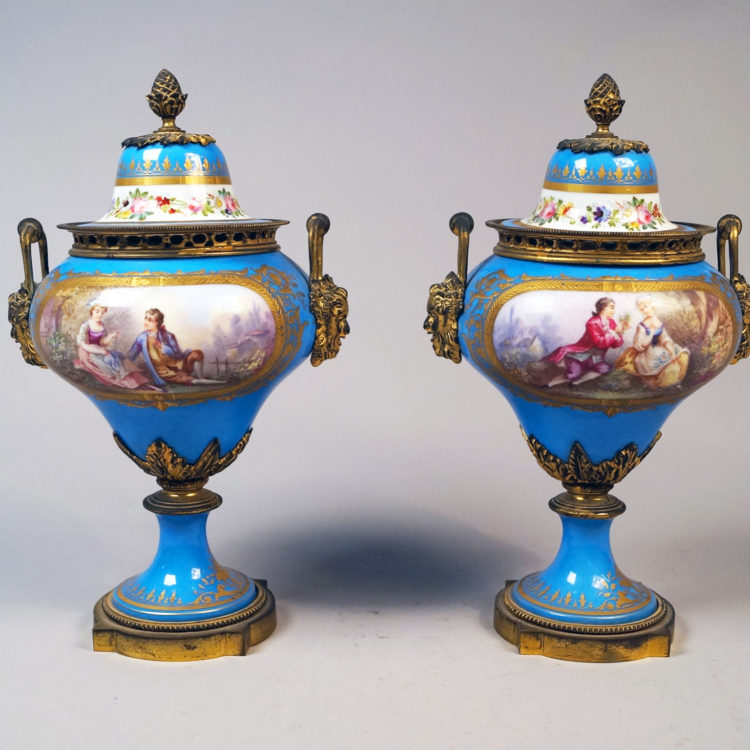 Sèvres turquoise urn-shaped vases and covers